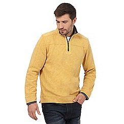 Mantaray - Big and tall yellow pique zip neck top