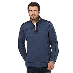 Mantaray - Big and tall navy textured pique herringbone zip neck top