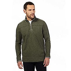 Mantaray - Big and tall khaki zip neck sweater