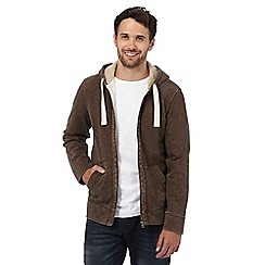 Mantaray - Big and tall brown pique zip through hoodie