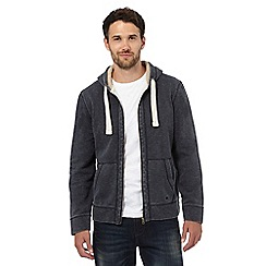 Mantaray - Big and tall dark grey pique zip through hoodie