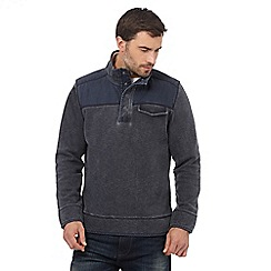 Mantaray - Navy textured pique herringbone zip neck top