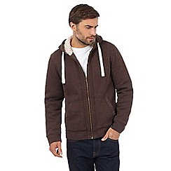 Mantaray - Big and tall brown sherpa trim hoodie