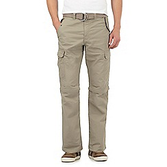 Mantaray - Big and tall taupe zip off legs belted cargo trousers
