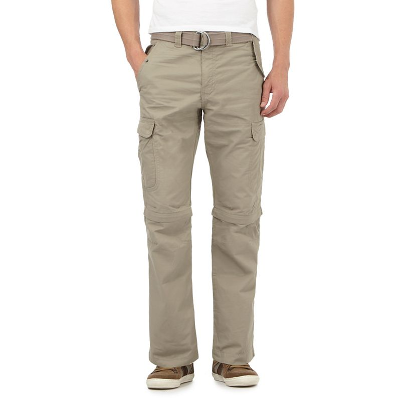 Mantaray Big and tall taupe zip off legs belted cargo