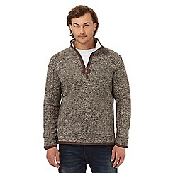 Mantaray - Big and tall brown waffle texture funnel neck sweater