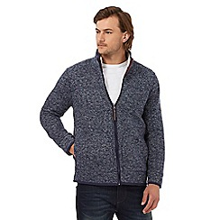 Mantaray - Big and tall blue waffle texture funnel neck sweater