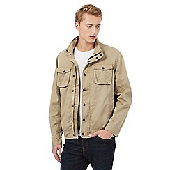 Mantaray - Big and tall beige textured harrington jacket