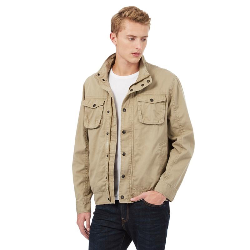 Mantaray Beige Textured Harrington Jacket, Mens, Size: