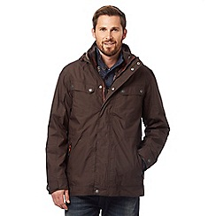 Mantaray - Big and tall brown technical 3-in-1 coat
