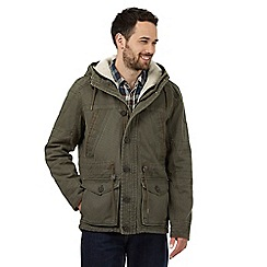 Mantaray - Big and tall green fleece-lined canvas parka jacket