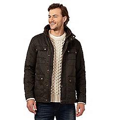 Mantaray - Big and tall dark brown lightweight waxed jacket