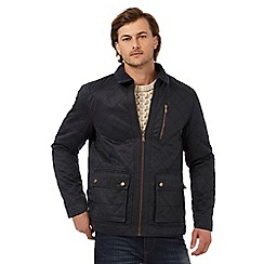 Mantaray - Big and tall navy wax quilted jacket
