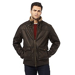 Mantaray - Big and tall dark brown sherpa lined harrington