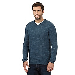 Mantaray - Dark turquoise marl V neck jumper