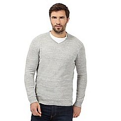 Mantaray - Big and tall light grey marl V neck jumper