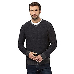 Mantaray - Dark grey marl V neck jumper