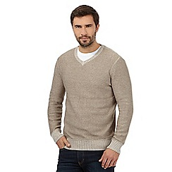 Mantaray - Big and tall beige marl V neck jumper