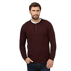 Mantaray - Big and tall dark red marl granddad neck jumper