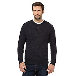 Mantaray - Big and tall navy marl granddad neck jumper