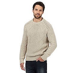 Mantaray - Big and tall cream cable knit jumper with wool
