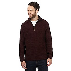 Mantaray - Dark red zip neck jumper