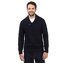 Mantaray - Navy textured shawl neck jumper with wool