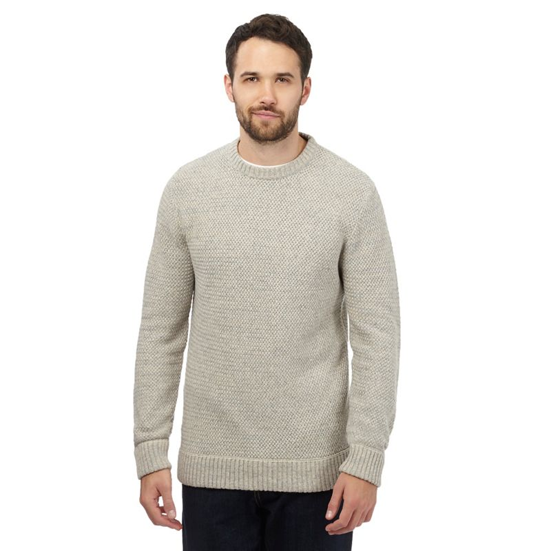 Big and Tall Mantaray Cream Twist Knit Jumper With Wool,