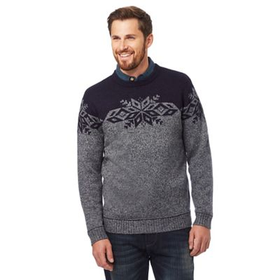 Mantaray Grey Fair Ile patterned jumper with wool