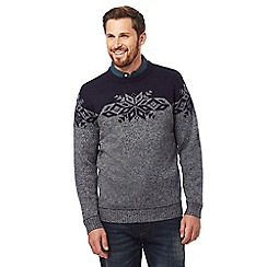 Mantaray - Grey Fair Isle patterned jumper with wool