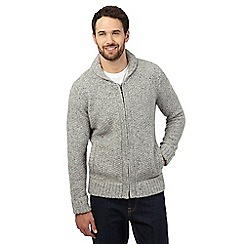 Mantaray - Grey wool blend zip through cardigan