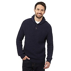 Mantaray - Navy wool blend shawl neck jumper