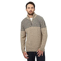 Mantaray - Natural wool blend funnel neck sweater