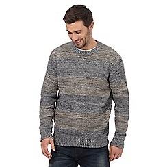 Mantaray - Big and tall grey striped space dye jumper
