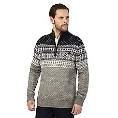 Mantaray - Grey snowflake patterned jumper with wool