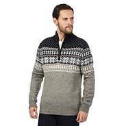 Big and tall grey snowflake patterned jumper with wool