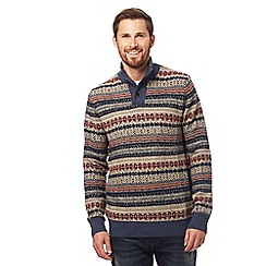Mantaray - Multi-coloured patterned button neck knitted jumper with wool