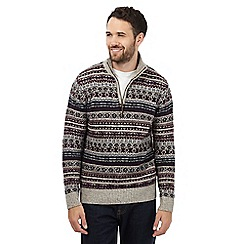 Mantaray - Big and tall dark red fair isle jumper