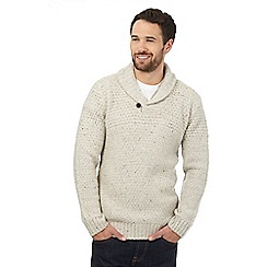 Mantaray - Big and tall cream wool blend shawl neck jumper