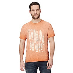 Mantaray - Big and tall orange surfboard print t-shirt