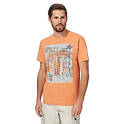 Mantaray - Orange tiki bar print t-shirt