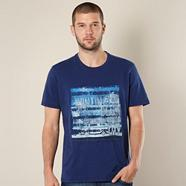 Big and tall dark blue embroidered 'surf city' t-shirt