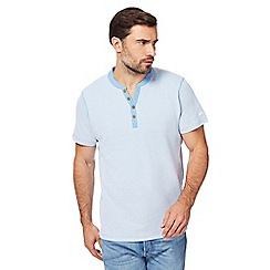 Mantaray - Blue textured notch neck top