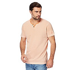 Mantaray - Orange textured notch neck top