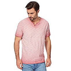Mantaray - Big and tall pink oil wash-effect notch neck top