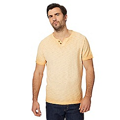 Mantaray - Big and tall orange oil wash-effect notch neck top