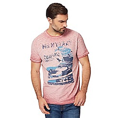 Mantaray - Big and tall pink surf print oil wash t-shirt