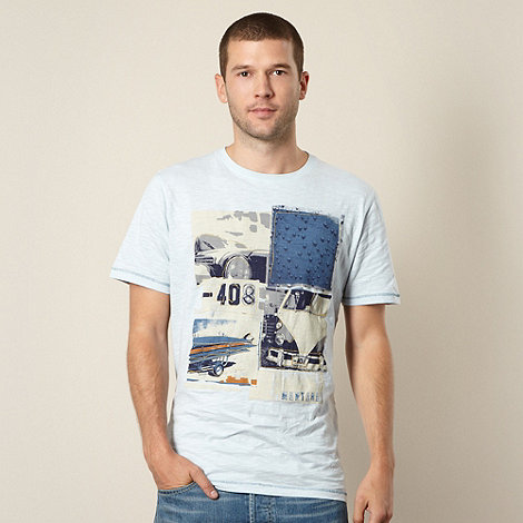 Mantaray - Light blue embroidered vehicle collage t-shirt
