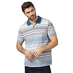 Mantaray - Blue variegated striped polo shirt