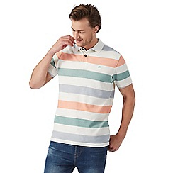 Mantaray - Green textured striped print polo shirt